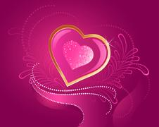 precious pink heart - stock illustration