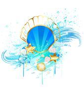precious blue seashell - stock illustration