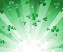 Radiant green background with clover Stock Illustration