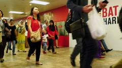 Pedestrians in Underground Walkway - Kuala Lumpur Malaysia Stock Footage