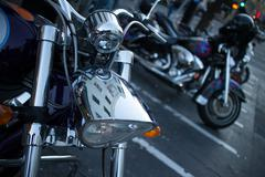 Detail of Shiny Chrome Headlight on Cruiser Style Motorcycle Stock Photos