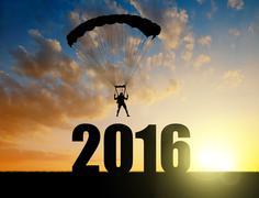 Parachutist landing in the New Year 2016 Stock Photos