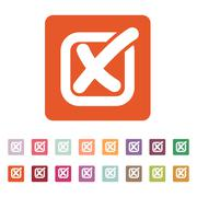 The check icon. Checkmark and checkbox, no, voting symbol. Flat Stock Illustration