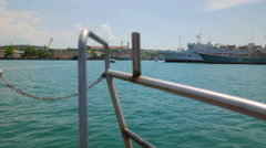 View from a nose of a boat sailing the bay of Sevastopol. Stock Footage