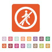 The no entry icon. Disallowed and danger, warning symbol. Flat Stock Illustration