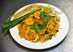 pad thai with shrimps, Thai food - stock photo