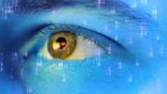 Observer eye. figures in movement to male eye Stock Footage