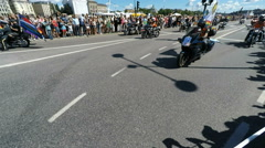 Motorcycle group at Gay pride parade in Stockholm Stock Footage