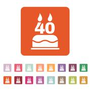 The birthday cake with candles in the form of number 40 icon. Birthday symbol Stock Illustration