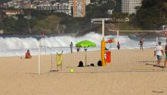 Volleyball at the Beach in Rio de Janeiro Stock Footage