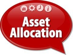 Asset Allocation  Business term speech bubble illustration Stock Illustration