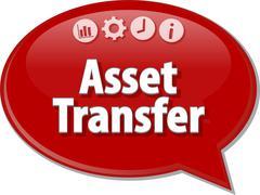 Asset Transfer  Business term speech bubble illustration Stock Illustration