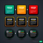 Set of three sequence or timeline templates. EPS10. - stock illustration