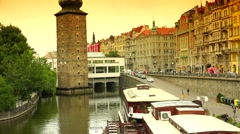 ULTRA HD 4K real time shot,view of Manes gallery in Prague Stock Footage