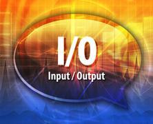I/O acronym definition speech bubble illustration Stock Illustration