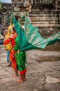 Artists wear traditional costume in Angkor temple,Siemriep, Cambodia. Stock Photos