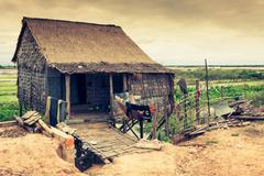 Homes on stilts on the floating village of Kampong Phluk, Tonle Sap lake,Siem Stock Photos