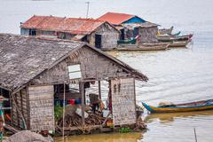 The village on the water. Tonle sap lake. Cambodia Stock Photos