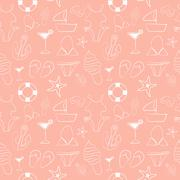 Funny seamless pattern with sketch summer elements - stock illustration