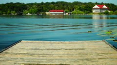 Wooden Pier And Turquoise Water. Holiday Landscape. Stock Footage