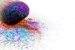 Multi Colored Powder Eyeshadow on a Brush, fashion beauty Stock Photos