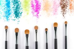 Multi Colored Powder Eyeshadow with Brush, fashion beauty Stock Photos