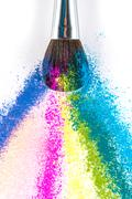 Multi Colored Powder Eyeshadow with Brush, fashion beauty tool - stock photo