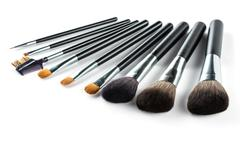 a set of cosmetic brush,  High Angle view, fashion and beauty - stock photo
