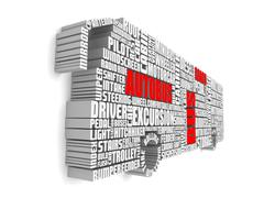 Stock Illustration of 3d group of red white words shaping a passenger bus