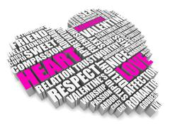 3d group of words shaping a heart with pink white text - stock illustration