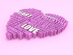 3d group of words shaping a heart on pink background Stock Illustration