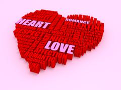 3d group of words shaping a heart with pink red text - stock illustration