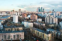 Hurricane coming into residential areas of Moscow Stock Photos