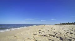 Sandy summer beach in Hel, Baltic sea, Poland Stock Footage