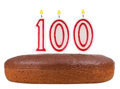 birthday cake candles number 100 isolated - stock photo