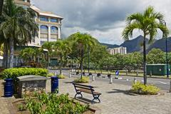 View to the Caudan waterside street in Port Louis, Mauritius. - stock photo