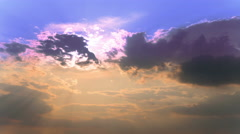 Beautiful cloudy blue sky with  sun ,4K 4096x2304 . Time lapse Without birds Stock Footage