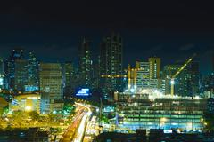 Nighttime and transportation in Bangkok city Thailand - stock photo