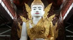 Zoom Out of Giant Buddha Myanmar Burma Stock Footage