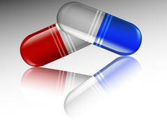 Capsules with reflection - stock illustration