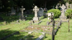 English Cemetery gravestones Stock Footage