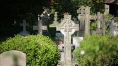 English Cemetery crosses and gravestones Stock Footage