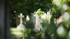 English Cemetery grave stones and crosses Stock Footage