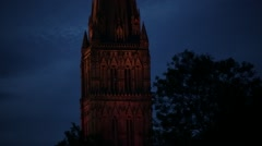 English Cathedral in the night (Salisbury Cathedral) - stock footage