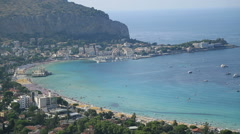 Stock Video Footage of Mondello beach areal view 7