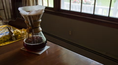 Coffee Brewing on Breakfast Table, Chemex Pour Over Stock Footage