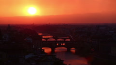 Time Lapse Aerial Skyline of Arno River Stock Footage