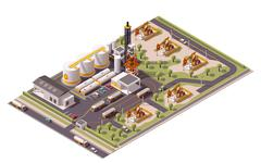 Stock Illustration of Vector isometric oil field icon