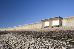 Shelter and Sea Wall on Canvey Island, Essex, England Stock Photos