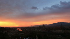 Time Lapse Aerial Skyline of Florence at Sunset Stock Footage